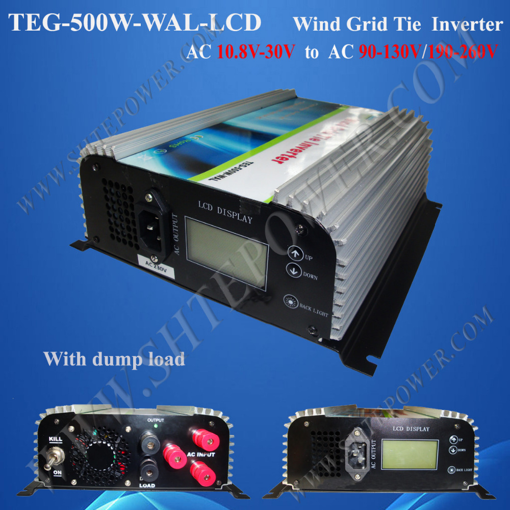 grid tie micro inverter 500w wind turbine converter with lcd display and dump load resistor(China)