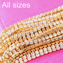All Sizes Crystal Close Rhinestone Cup Chain With Matel Base Sew On Rhinestones Trimming For Garments Y2269