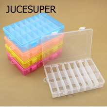 19*13*3.6cm Detachable Small Plastic Box 24 Grid Classification Storage Box Jewelry Fishing Gear Piecemeal Article Storage Box