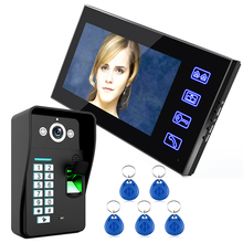 "Touch Key 7"" Lcd Fingerprint Recognition Video Door Phone Intercom System IR Camera HD 1000 TV Line 5pcs RFID Proximity ID Card(China)"