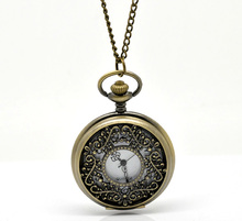 FUNIQUE Hot Selling Pocket Watches For Women Bronze Tone Necklace Chain Round Quartz Steampunk Pocket Watch Clock 87cm