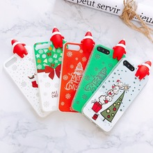 3D Christmas Santa Claus Case For iPhone 6 6s 7 8 Plus Soft TPU Back Cover Lovely Tree Socks Luminous Phone Case