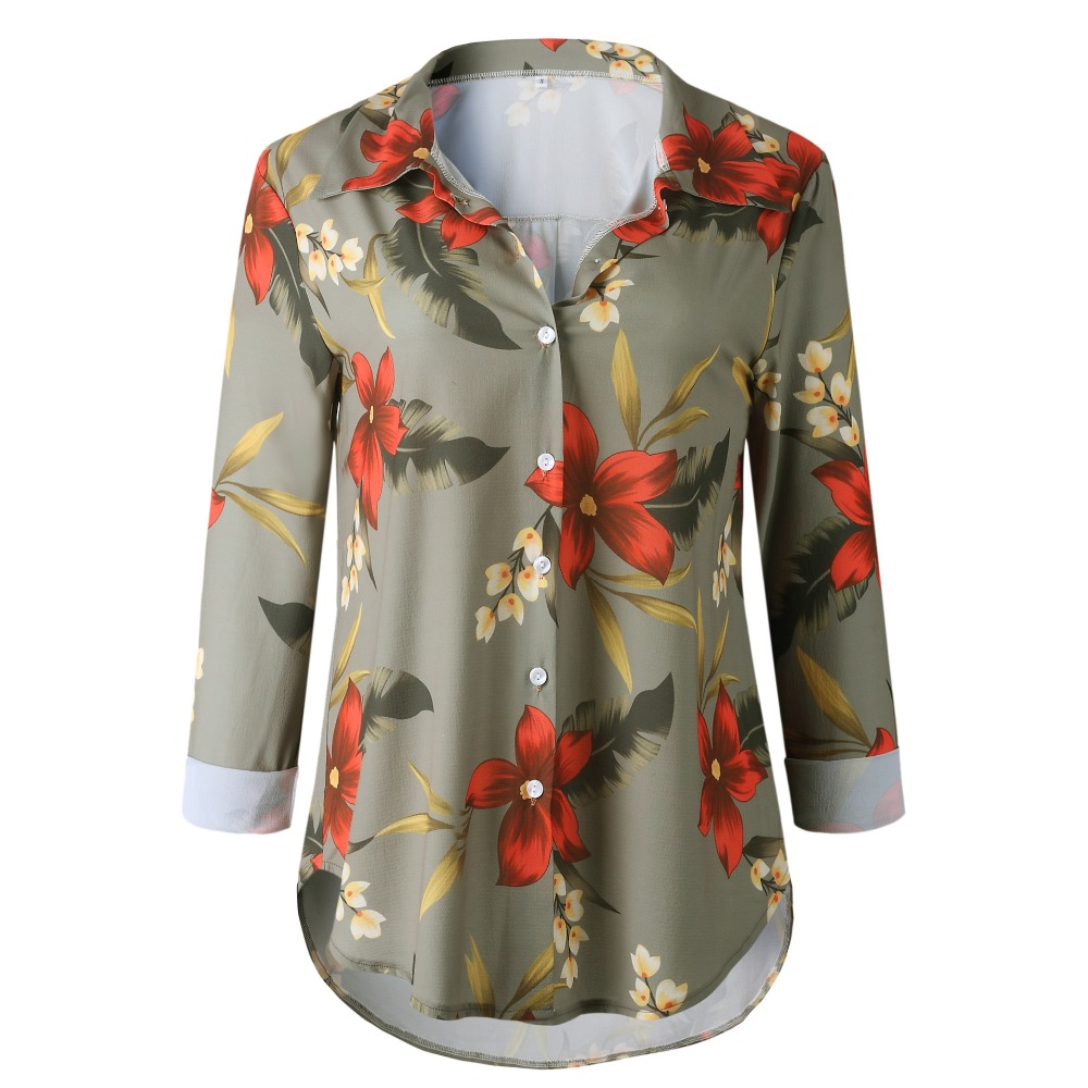 ba849f994 Floral Print Blouse Striped Long Sleeve Button Casual Loose Shirts Women  Turn-down Collar Shirt 2018 Autumn Fashion Tops Blouses