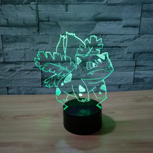 Pokemon Bulbasaur 3d Lamp Frog Seed 7 Color Led Night Lamps For Kids Touch Led Usb Table Lampara Lampe Baby Sleeping Nightlight(China)