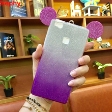 Nephy Phone Case For Huawei P8 P9 P8lite P9lite P 8 9 lite ALE-L21 ALE-L04 Cover Fashion 3D Ears Silicon Glitter powder Strap