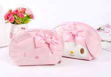 Kawaii  2Models, Hello Kitty , Rabbit.  NEW PU 14*0CM Kawaii Cosmetics Pouch BAG ; Coin Purse Wallet Pouch Case BAG Handbag