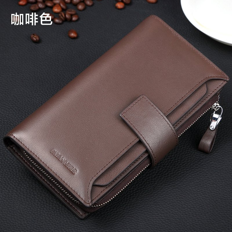 FALANMULE High Quality Long Genuine Leather Wallet Men Designer Brand Purse New Zipper Wallet Male Clutch carteira masculina<br>
