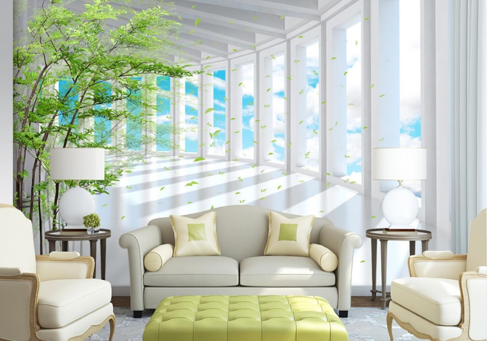 nature background wallpaper Custom 3d wall mural Blue sky forest landscape wallpaper mural for living room modern<br>