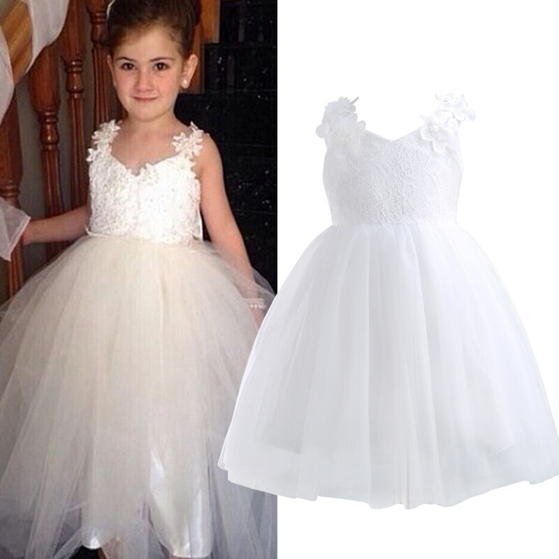 Flower Girls Lace Tutu Dress Kids Baby Party Pageant Wedding Bridesmaid Dresses