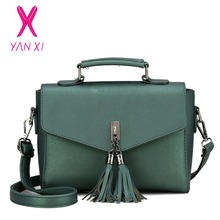 YANXI 2017 New Hot Sale Handbag Shoulderbag Fashion Small Square Package High Quality PU Solid Color Tassel Messenger Lady Bag