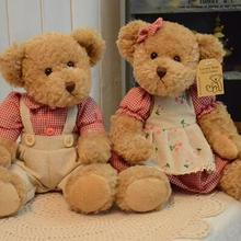 Free shipping 28cm 2pcs/pair lovely mini couple teddy bear with cloth plush toy dolls girls birthday&christmas gift 100%good