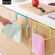 1Pc Over Door Tea Towel Holder Rack Rail Cupboard Hanger Bar Hook Bathroom Kitchen Top Home Organization Candy Colors(China)