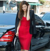 Celebrity knee length red bandage dress bow nice sexy women strapless hl rayon bandage dress summer