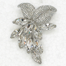 12pcs/lot Wholesale Fashion Brooch Marquise Rhinestone Swing Flower Pin brooches Bridal Wedding party Jewelry gift C102299(China)