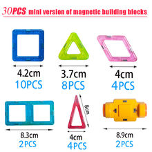 Mini 30PCS Magnetic Building Blocks Toy 3D DIY Magnetic Designer Toys Bricks Blocks Educational Toys For Children kids baby