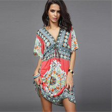 ELEXS Hot Sale Women's Summer Bohemian Style Dress Sexy Sundresses Deep V Ethnic Floral Print Tunic Beach Dresses 7436