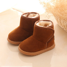 Girls Boys Snow boots Winter Children Cotton shoes Comfortable warm Ankle boots Cow Muscle Baby shoes Kids boots Black Brown 2/5