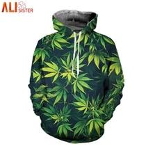 Alisister Weed Leaf Men's Hoodies Women Sweatshirt Plus Size 3d Hooded Pullover Tracksuit Casual Streetwear Outfits Top DropShip