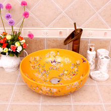 Flowers And Birds Ceramic Painting China Painting Art Lavabo Bathroom Vessel Sinks Round counter top wash basin china