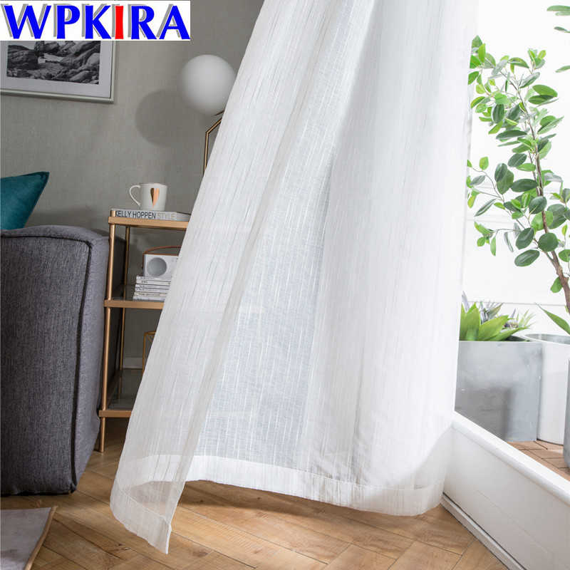 White Sheer Tulle Window Curtain Para Sala Scenery Curtain Tulle for Living Room Cafe Curtains Window Curtain Drapes WP039-30