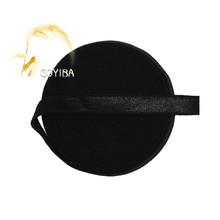 "GOYIBA 5 Yard 3/8"" 10mm Black Spandex Satin Bands Shiny Non-fold Over Elastics Headband Bra Strap Dress Lace Trims Sewing Notion"