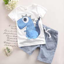 2017 new fashion trends new children's clothing 2t-6t summer cartoon animal dinosaur children's cotton T sleeve + pants