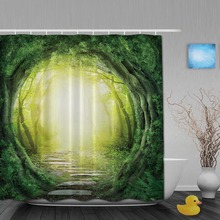 Natural Landscape Bathroom Shower Curtains Forest Road Shower Curtain Waterproof Polyester Fabric Bathroom Shower Curtain Hooks