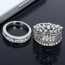 2 Piece/set Retro Women Rings Rhinestone Silver Plated Crown Wedding Band Ring Set Size 7 Crystal Shine Nice Gift