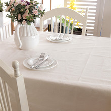 High Quality Cotton and linen thick modern simple table cloth white plain lace table cloth