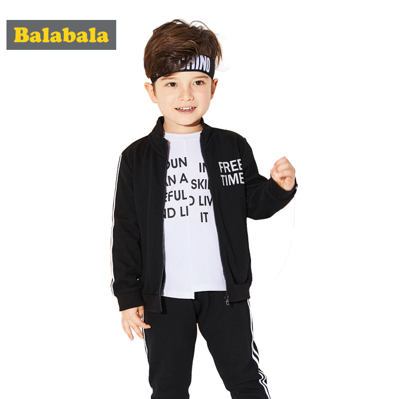Balabala boys clothes suits kids clothing set children sportswear toddler boys zipper clothing mandarin collar enfant Clothes<br>