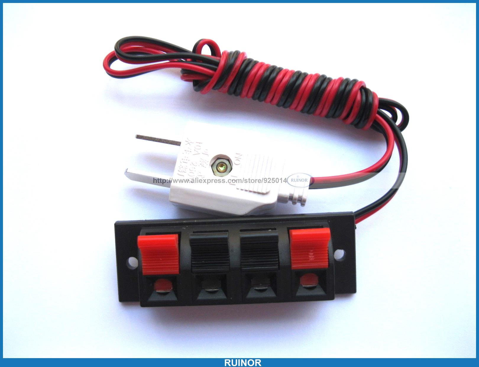 20 Pcs Speaker Terminal Board Spring Loaded 4 Way with Adapter Plug 1.5M<br><br>Aliexpress