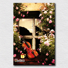 Corner of garden printing canvas landscape prints picture with happy life music wall art oil painting reproduction