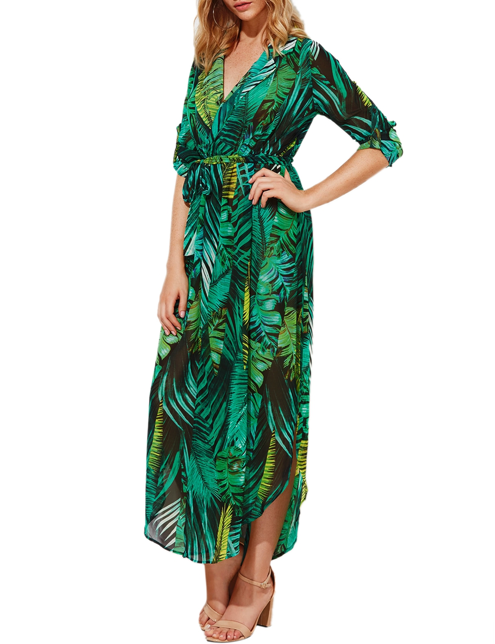 iShine autumn palm leaf printed long sleeve v neck beach maxi chiffon long dress casual split elegant women boho dress vestidos 3