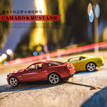 1:32 Alloy car model Ford Mustang Chevrolet Comero The door can be opened Back to power and sound Children's car toys(China)