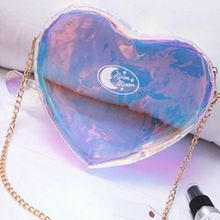 1PC Cute Fashion Women Laser Bag Purse Translucent Reflective Cute Love Heart Shoulder Messenger Bag Storage Rainbow Bag(China)