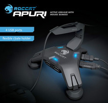 Roccat Apuri Active USB Hub with Mouse Bungee,Mouse cord holder, Mouse cord clip, Brand New In Box & Original, Free shiping