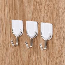 6PCS Strong Adhesive Hook Wall Door Sticky Hanger Holder Kitchen Bathroom White organizing household kitchen home tool 2017(China)