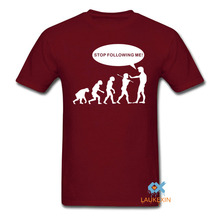 Stop Following Me Men's T Shirt Parody Evolution Ape Monkey Follow Funny Camisetas Short Sleeve Shirt Wholsale Cheap Quality Tee