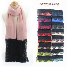 2016 Luxury Black lace edges Scarf plain solid women shawl floral lace scarves Cosy cotton viscose wrap muslim head scarfs hijab