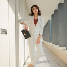 Buy Fashion Formal Blazer Women Business Suits Pants Jacket Sets Ladies Work Wear Office Uniform Designs Elegant White for $49.94 in AliExpress store