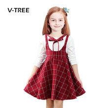 V-TREE girls dress clothes plaid girls school uniform dress for teenagers 10 12 years girl dress kids party dress spring
