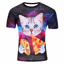 mens t shirts fashion 2016 latest pizza cat 3d printing kinds new style camiseta hombre manga corta tee shirt homme