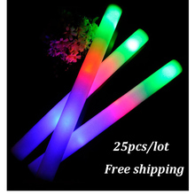 25 pcs/lot LED Foam Stick Colorful Flashing Batons 48cm Red Green Blue Light-Up Stick Festival Party Decoration Concert Prop Bar