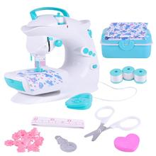 Children's Sewing Machine plastic Toy Simulation Girl Puzzle Small Household Appliance Set Play Game Toy battery(China)