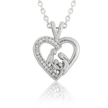 Lemegeton Lovely Mother and Children Heart Family crystal stones Pendant Necklace jewelry for gifts