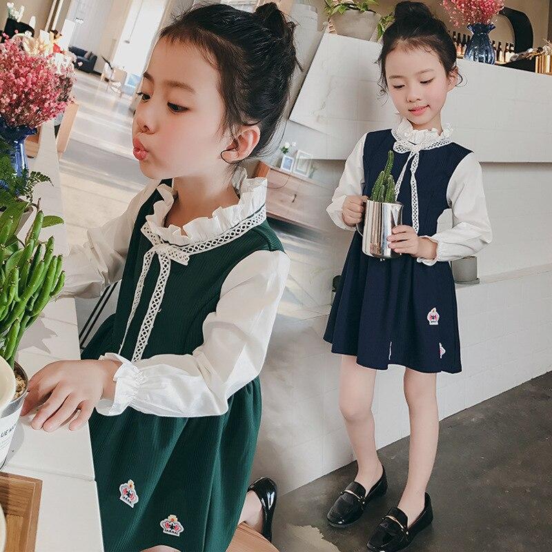 Kids girls spring / autumn dress 2017 new baby girls clothing fashion crown applique sweet princess dress 4/5/6/7/8/10/11/12/13<br><br>Aliexpress