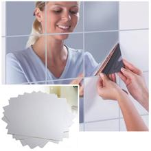 16Pcs/9Pcs 15CM Square Mirror Paster Big Mosaic Back Glue Decorative Mirror Sticker Silver Color