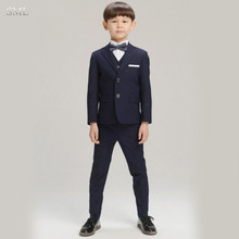 SML Hot Free Shipping Formal Navy Blue Black Boy's Attire for Weddings Child Birthday Suit 2017 Blazer Prom Wedding Boys Suit