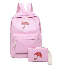Lightweight canvas pink backpack Preppy style fresh school backpack for teenage girls women's travel and leisure bag 100% cotton