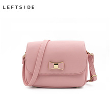 LEFTSIDE Women Bag Bow Handbag PU Leather Women's Shoulder Crossbody Bags Ladies Small Handbags Purse Bags Bolso Pink Black(China)